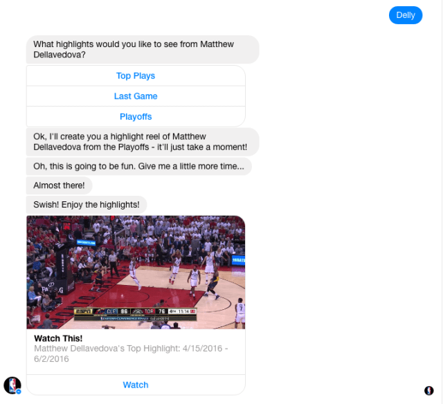Facebook chatbot was launched during the opening of the NBA finals