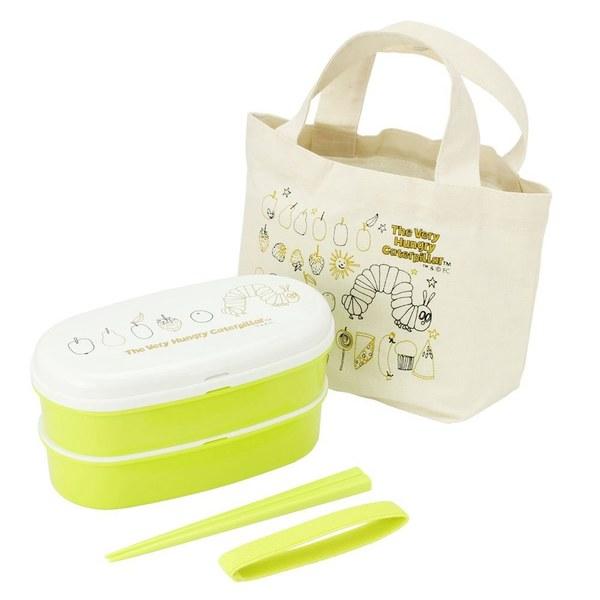好餓的毛毛蟲雙層餐盒提袋組(附筷子)(四入一組-可微波)