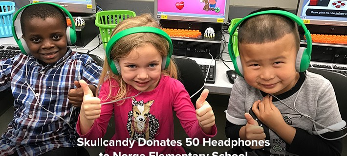 Norge would like to give a big thank you to Skullcandy for donating 50 brand new pairs of headphones to our school! The students love the new headphones and have commented on how cool and comfortable they are, not to mention the improved sound quality! Over 650 students use these headphones in the Norge Elementary computer lab and library every week to listen to ebooks, watch educational videos, practice reading and math, learn to keyboard, record and playback their own voices, learn about internet safety, conduct research, write code, create multimedia presentations, program robots, and so much more!