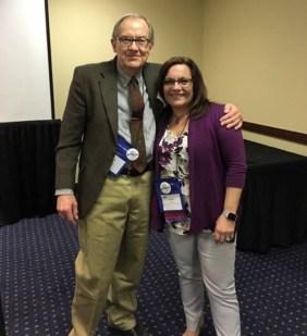 """FLAVA president, Dr. Kuettner and Karin Woodrum (German Teacher LHS), """"Best of FLAVA"""" recipient"""