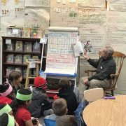 Kiwanis member reads to James River students