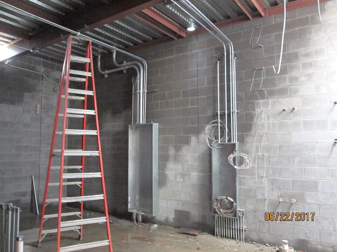 Electrical panels, conduit, and wiring in Electrical B118 ...