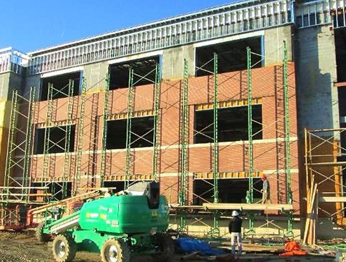 Brick after wash-down on the West elevation of Unit B