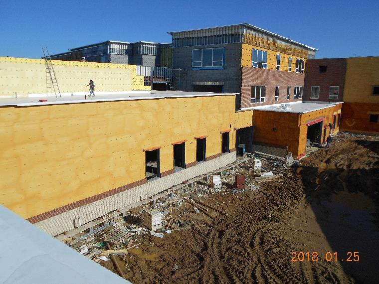 South elevation of the theater classroom and art room noting ...