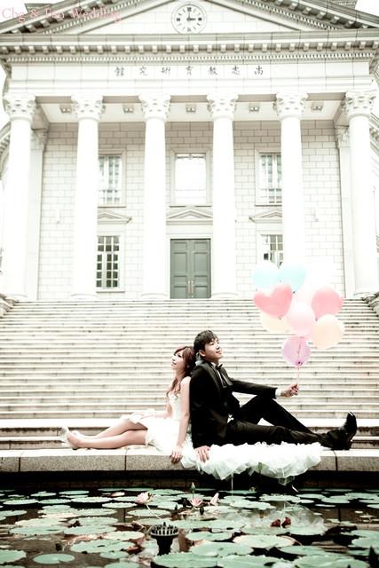 [♥囍♥]花嫁婚紗照★ 前短後長波浪白紗