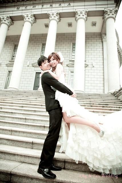 [♥囍♥]花嫁婚紗照★ 前短後長波浪白紗 @小環妞 幸福足跡