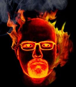 Foto Bildbearbeitung Feuer im Kopf