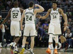 Bucks celebrate win over Clippers AP