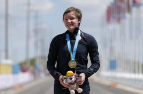 Cyclist Kelly Catlin AP