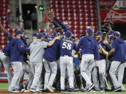 Brewers field celebration AP