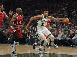 Bucks Giannis v Portland AP