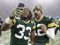 Packers Aaron Jones Rodgers selfie AP