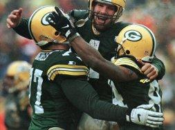 Packers Brett Favre celebrates AP