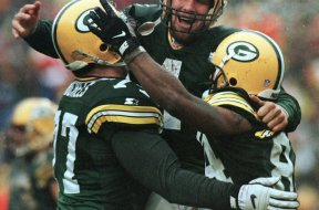 Packers Brett Favre celebrates AP