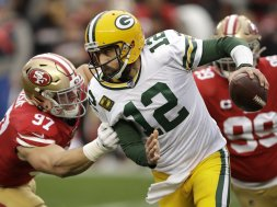 Packers Rodgers sack Niners Bosa AP