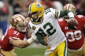 Packers Rodgers sack Niners Bosa AP