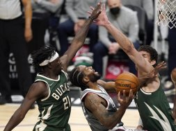 Kawhi Jrue Lopez Bucks Clippers AP
