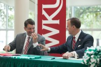 Ivy Tech Community College Chancellor Jonathan Weinzapfel (left) and WKU President Gary Ransdell