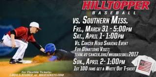 WKU Baseball will host Southern Miss March 31-April 2.