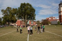 WKU groups got together to form human ribbons for breast cancer awareness and domestic violence awareness on Oct. 12.