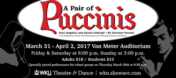 """""""A Pair of Puccinis"""" will be presented March 31-April 2."""