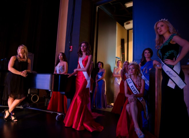 2015 winners and current participants listen to the question segment of peers during the Miss Kentucky Teen USA Pageant which took place in Van Meter on Sunday, February 14, 2016 in Bowling Green, Kentucky.|Ebony Cox