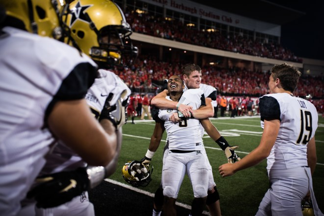 Vanderbilt outside linebacker Caleb Peart, 9, celebrates after a win over rivals Western Kentucky University on Saturday, September 24, 2016.