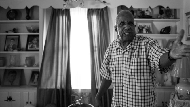 """Arthur Woodsen, 74, becomes aggravated on the topic of civil rights in the living room of his home in Bardstown, KY. Woodsen grew up in the midst of the Civil Rights Movement in the 1950s and 1960s. """"My race of people were looked at as not even being human,"""" said Woodsen. """"And that same segregation is still around today. God's blessed me to live seventy four years, and I've seen this country get worse instead of better."""""""