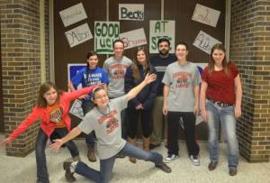 Front (L-R): Shyanne Saylor, Becky Pucel Back: (L-R): Emily Niles, Amanda Niles, Delaney Shively, Mr. Carlin, Bobby Pucel, and Audrey Crawford Dalton Good not present