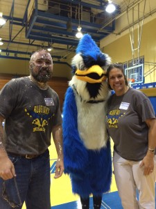 WKVI Sports Director Nathan Welter, the N.J.-S.P. mascot and news director Mary Perren