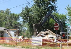 The house at 424 Maple Street in Parkview Heights is the first of eight scheduled for demolition with blight elimination grant funds.