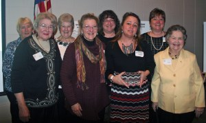 Carol Blastic, Melba Shilling, Debbie Mix, Suzy Bishop, Colleen McCarthy, President Rhonda Cavinder, Kelly Manning, and Marilyn Swanson. Rhonda Cavinder accepted the acrylic plaque for the 32 active members of the local chapter, who support the local community in the areas of charity, culture, and education.