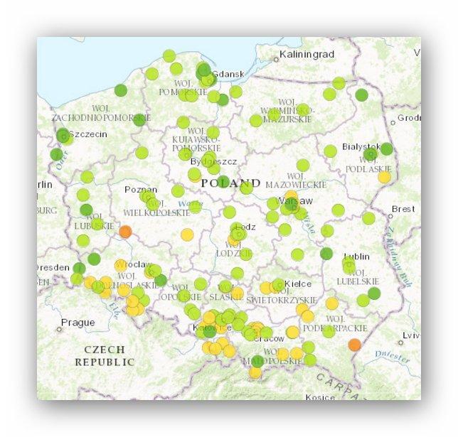 Miasta o najbardziej i najmniej zanieczyszczonym powietrzu w Polsce