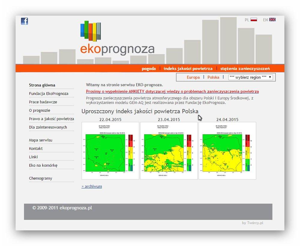 Prognoza zanieczyszczenia powietrza atmosferycznego dla obszaru Polski i Europy Środkowej