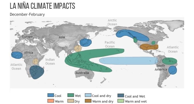 Zjawisko La Nina wpłynie na pogodę na całym świecie - @ NOAA Climate