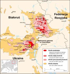 Mapa radiacji cezu-137 w 1996 - 10 lat po katastrofie w Czarnobylu