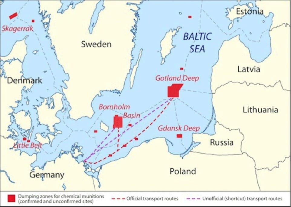 Znane składowiska i szlaki transportowe 50 000 ton broni chemicznej zatopionej w Morzu Bałtyckim po II wojnie światowej