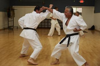George blocking Juan's Oi tzuki (straight punch)