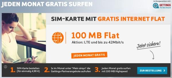 gratis surfen jeden Monat 100 MB frei Datenvolumen