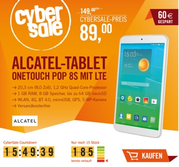Alcatel OneTouch Pop 8S 8 Zoll Tablet mit LTE