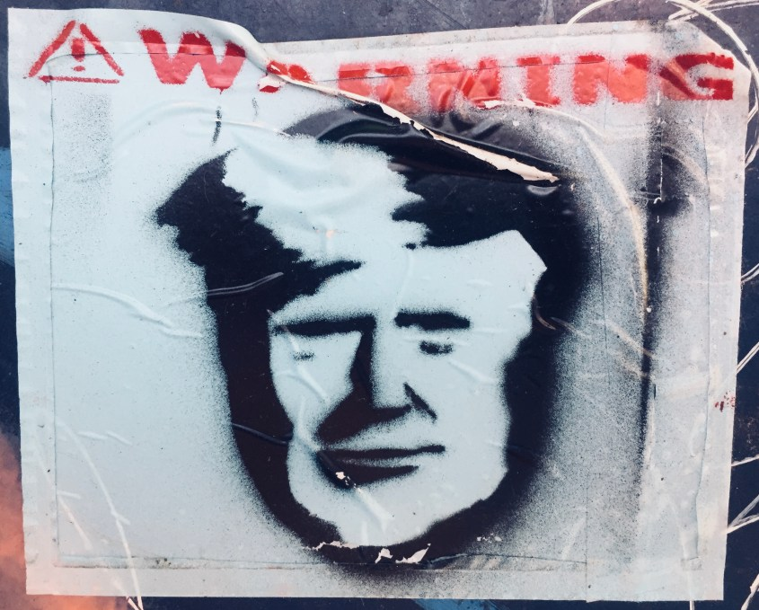 Weathered Trump-faced Warning from the Streets of Brooklyn #StreetArt #sticker #Brooklyn #Williamsburg