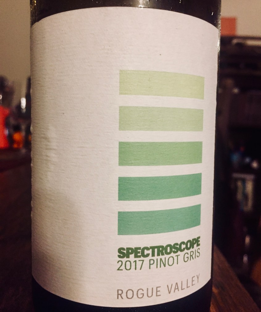 Label from bottle of Spectroscope Rogue Valley Pinot Gris 2017