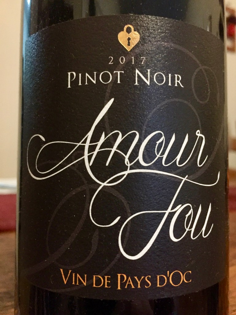 Label from bottle of Amour Fou Vin de Pays d'Oc Pinot Noir 2017
