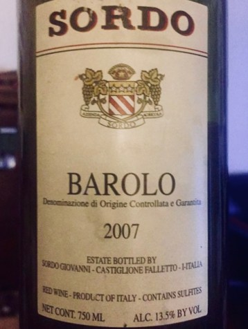 Lable from Bottle of Sordo Barolo 2007