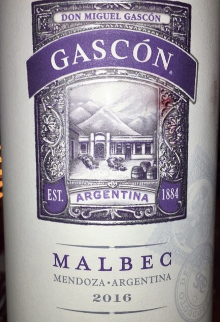label from bottle of Gascón Malbec Mendoza 2016