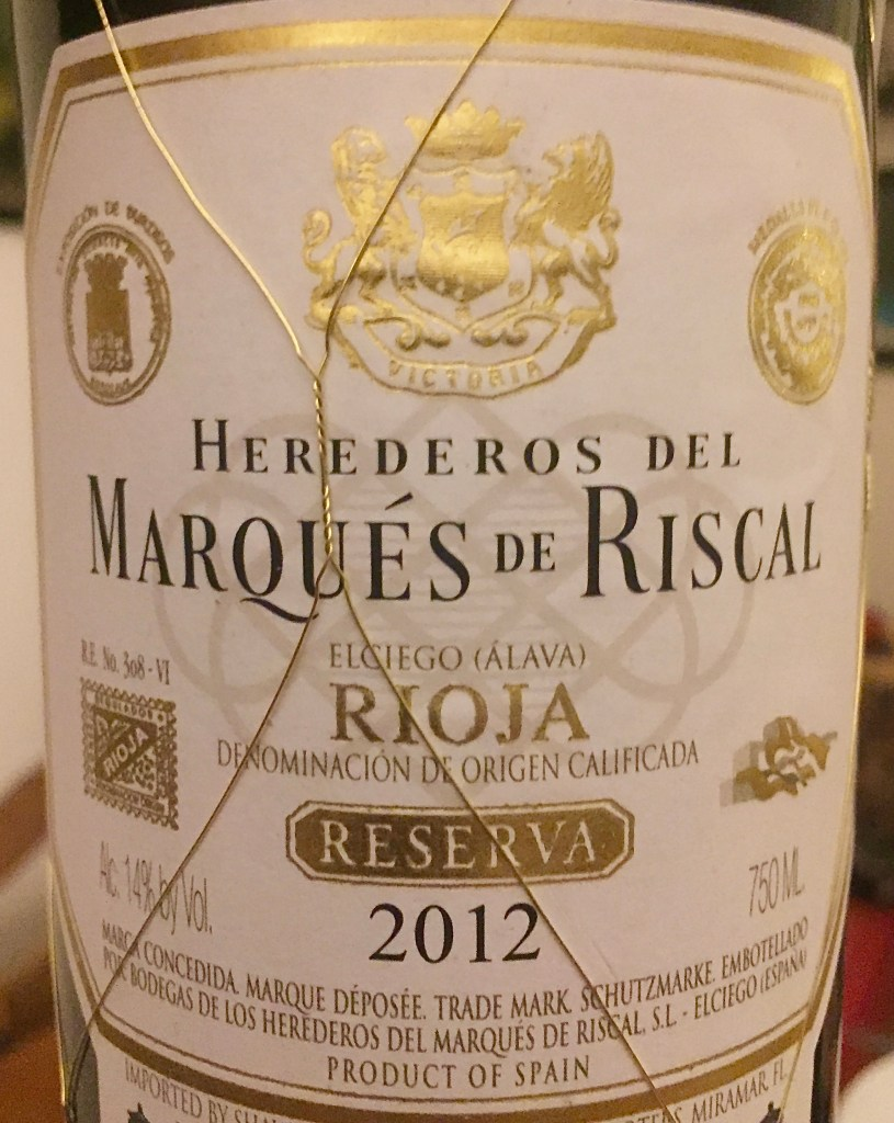 Label from Bottle of Herederos del Marqués de Riscal Rioja Reserva 2012