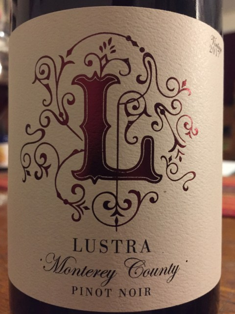 Label from bottle of Lustra Monterey County Pinot Noir 2017