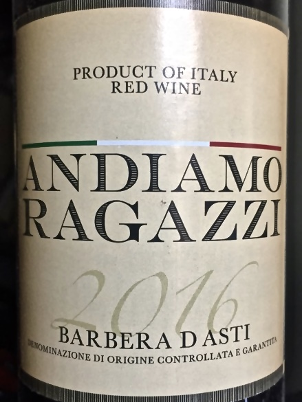 Label from bottle of Andiamo Ragazzi Barbera D'Asti 2016