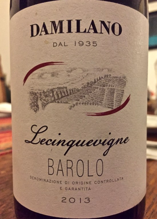 Label from bottle of Damilano Lecinguevigne Barolo 2013