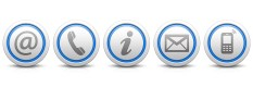Contact Us – Set of light gray buttons with reflection & blue